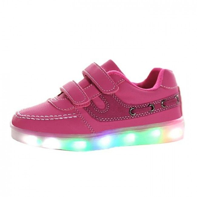 Kids Pink Luminous Shoes With Velcro