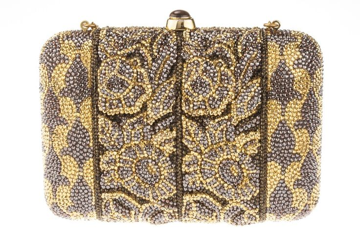 """Judith Leiber Swarovski Crystal Gold and Brown Clutch Bag  - This Judith Leiber clutch bag has a 9"""" chain that can be easily tucked inside the bag so that it may be used as a clutch.   The bag is 6"""" wide 4.25"""" tall and 1.5' deep.  The bag is in excellent condition, there are 1-2 crystals missing at one corner, the interior lining is in perfect condition.   The top closure has a tiger eye stone push lock that opens the bag."""