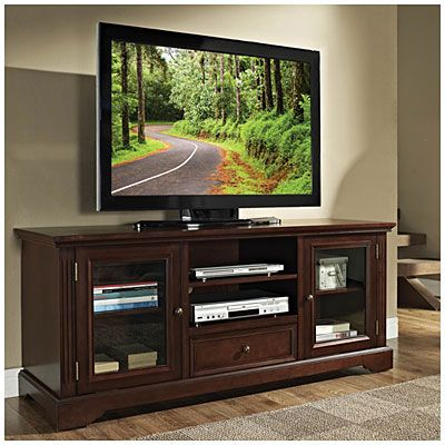 "60"" TV Stand with Drawer at Big Lots. ---------------------------------------------- Gotta check this out to see if it's sturdy, looking for something to paint :)"