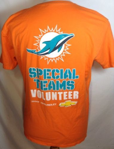 Miami Dolphins T-Shirt Large Mens Special Teams Chevrolet NFL Team Logo Orange