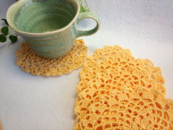 """Set of 5 Coasters Heart Crocheted Hand / Bright Yellow - 4.3""""(11cm) by YuminaCafe, ¥1000"""