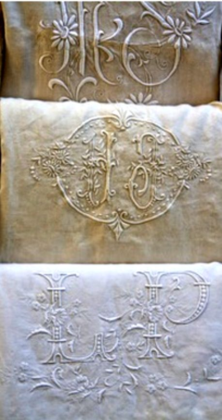 ⌖ Linen & Lace Luxuries ⌖  embroidered french linens | myluciouslife                                                                                                                                                                                 More