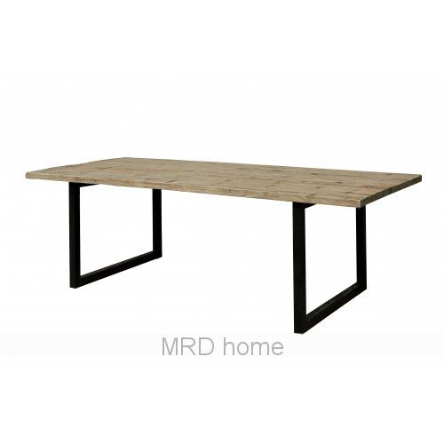 Richmond Dining Table, 2400 x 1000 x 770 Recycled Fir with Black Powder coated Iron.