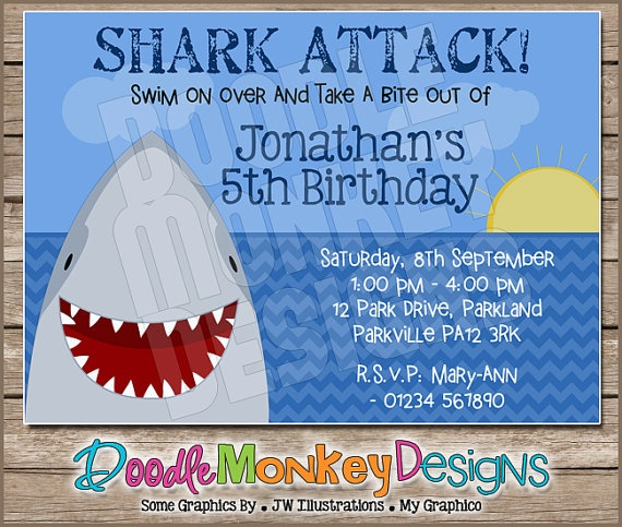 21 best shark party images on pinterest | shark party, sharks and, Party invitations
