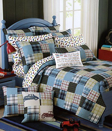 Red Truck Moving Co Plaid Quilt Set 2 Piece Cotton