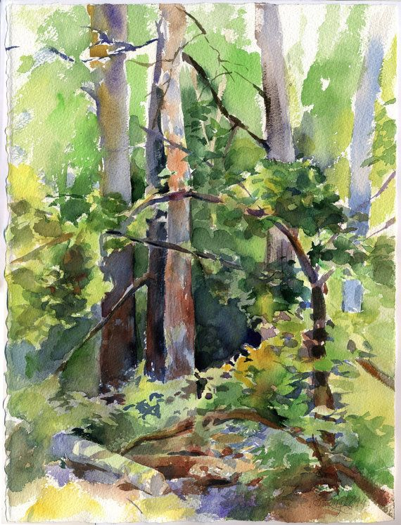 Wood watercolor painting original green forest by OlgaSternyk