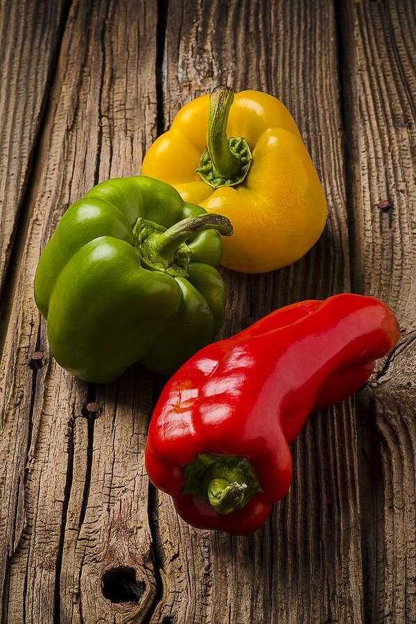 Red Green Yellow Peppers.