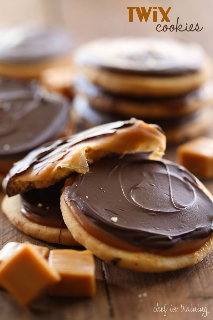 Twix Cookies: Shortbread crust, caramel filling and chocolate topped; they are INCREDIBLE! You will LOVE these cookies!