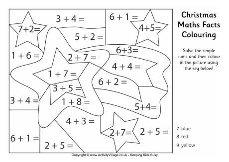 Christmas maths facts colouring page