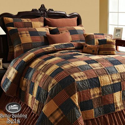 country+quilts | ... Primitive Patchwork Twin Queen CAL King Size Quilt Bedding SET | eBay