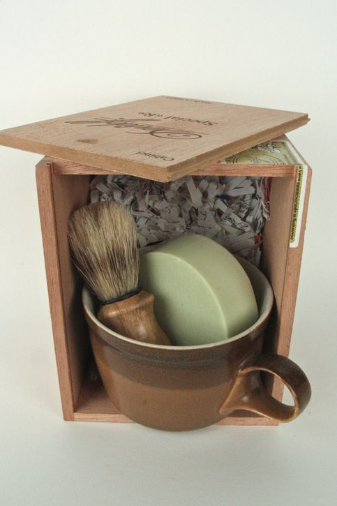 Please contact us for your custom made shaving kits. Using old cigar boxes for packaging, we have vintage shave mugs, shave soaps and travels soaps, straight razors, and boar bristle brushes. Photos are examples of kits previously ordered. Ranging from $20.00-$70.00