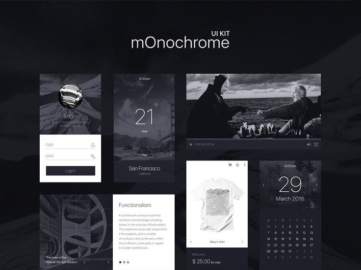 Download Monochrome UI Kit UI Kit - http://www.vectorarea.com/download-monochrome-ui-kit-ui-kit