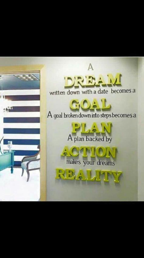 A Dream Written Down With A Date Becomes A Goal. A Goal Broken Down Into  Steps Becomes A Plan. A Plan Backed By Action Makes Your Dreams Reality.