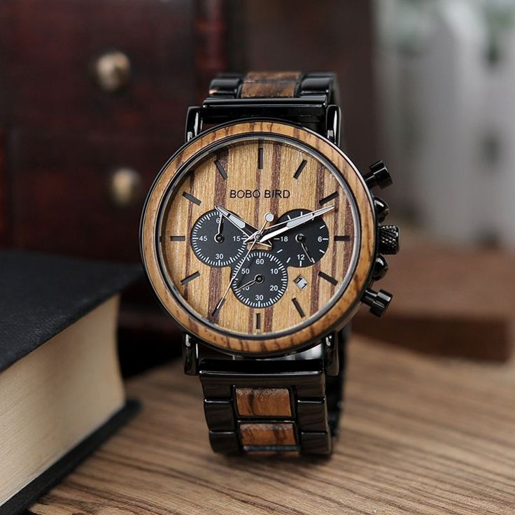 Stylish Men's Stainless + Wood Chronograph Watch  Wood watches for men style internet unique products shops fashion for him date band black awesome accessories gift ideas beautiful guys dads outfit boxes pictures man gifts casual For sale buy online Shopping Websites montre en bois homme garçon papa cadeaux idées originales mode Achat Acheter en ligne Site de vente france  AuhaShop.com