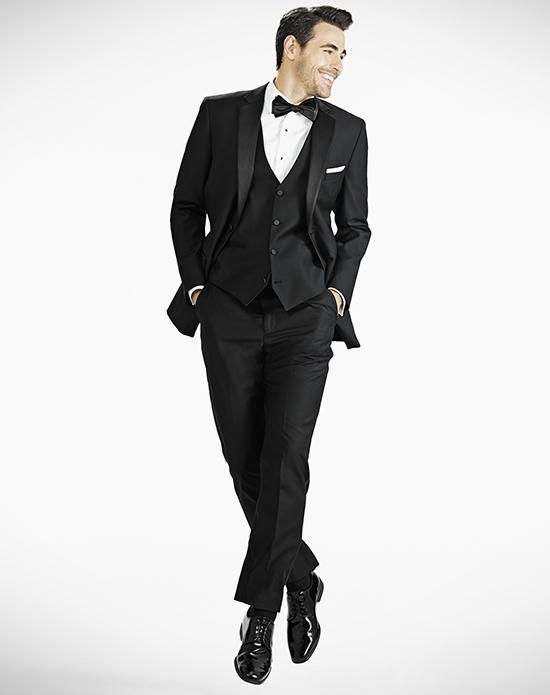 Two-Button, 100% Super 140s Merino Wool, Modern Fit Black Notch Lapel Tuxedo | Generation Tux | https://www.theknot.com/fashion/notch-lapel-modern-fit-black-tux-generation-tux-online-tuxedo-suit-rental-tuxedo