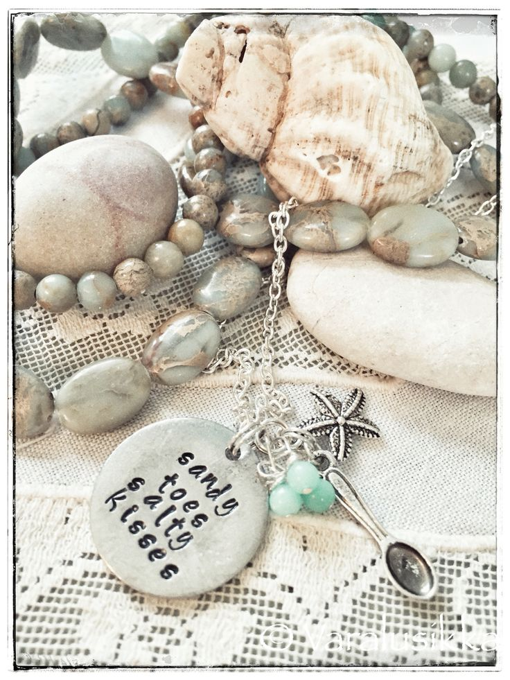 Beach, summer, and sunny memories... Hand stamped necklace with a spare spoon. www.varalusikka.fi