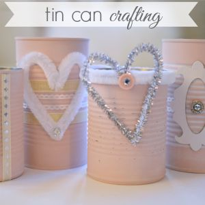 Shabby Pink Painted Tin Cans: a repurposed craft - Fox Hollow Cottage