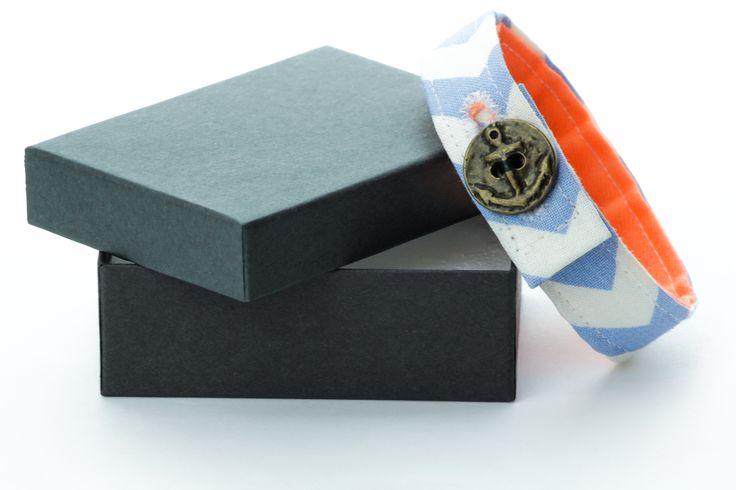 Material Anchor Bracelet -  Chevron Purple & White