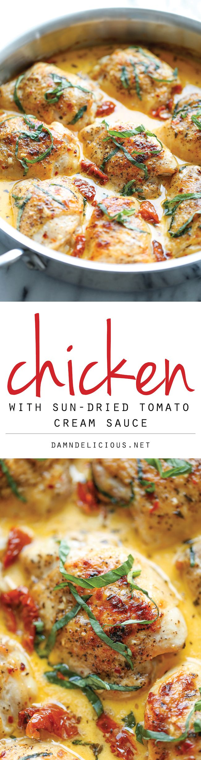 Chicken with Sun-Dried Tomato Cream Sauce - Crisp-tender chicken in the most amazing cream sauce ever! The cream sauce is so good, you just might want to skip the chicken and eat the sauce with a spoon instead!