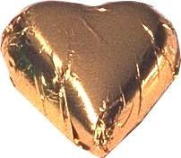 A bulk bag of 100 Gold Foil Chocolate Hearts.