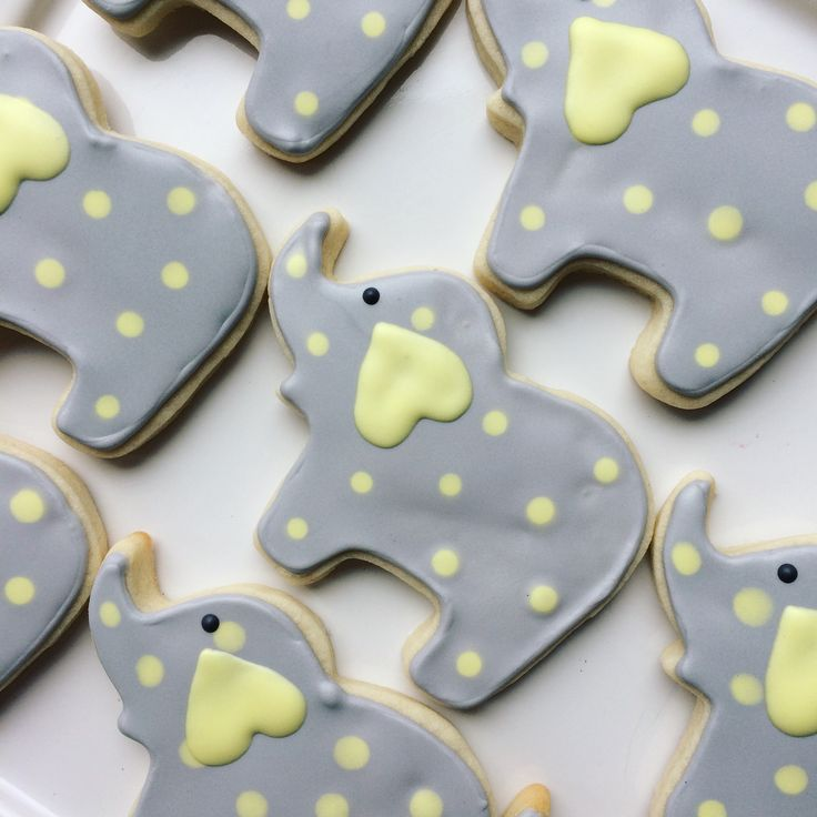 baby elephant cookies, decorated cookies, baby shower cookies, yellow and grey cookies