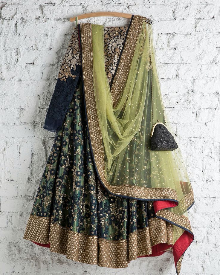 Black and mint green lehenga