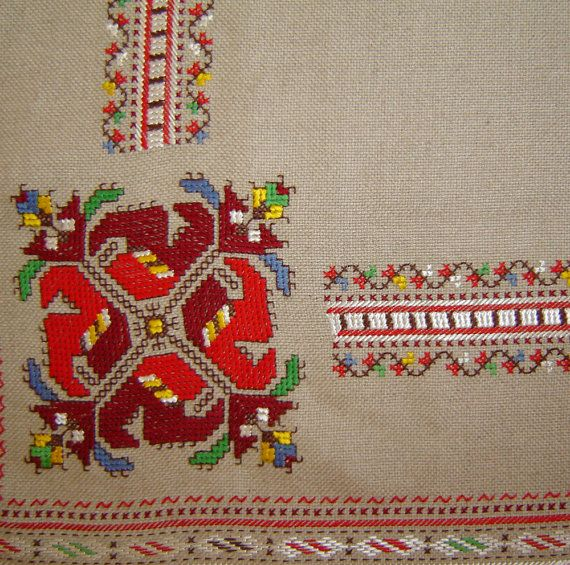 Bulgarian linen Hand Embroidered Table Cover Cloth by Vesiii