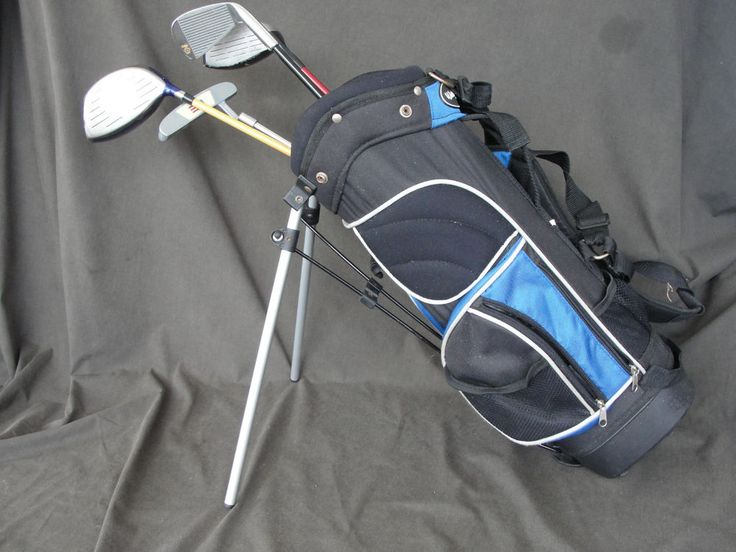 Blue Walter Hagen Youth Golf Bag with 4 Left Handed Golf clubs #walterhagen