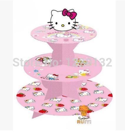 1 комплект комикс Hello kitty день рождения младенцы душ ну вечеринку картон кекс стойка держать 24 кексы купить на AliExpress