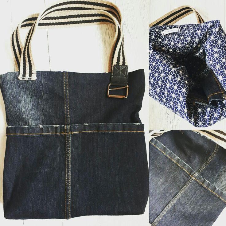 Sac récup vieux jeans - doublure vieille jupe et anses avec une ceinture
