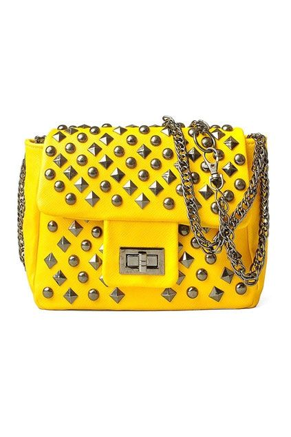 Stud Embellished Cross Lock Chain Shoulder Bag