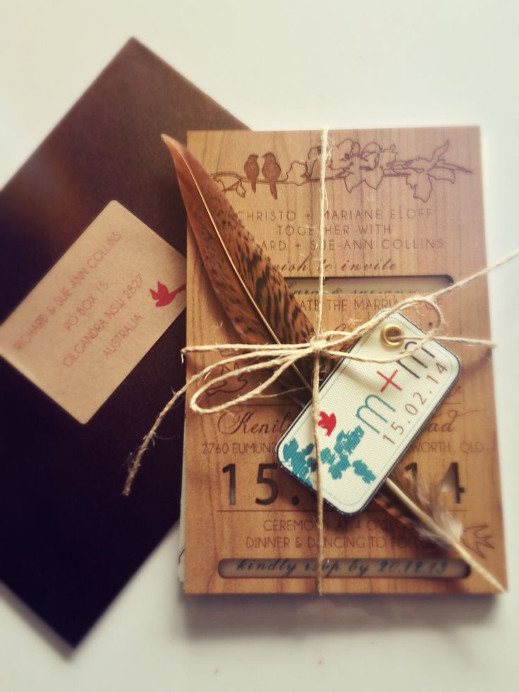 Rustic laser cut invitation set with feather and twine detail. Go to www.lovemytype.com.au