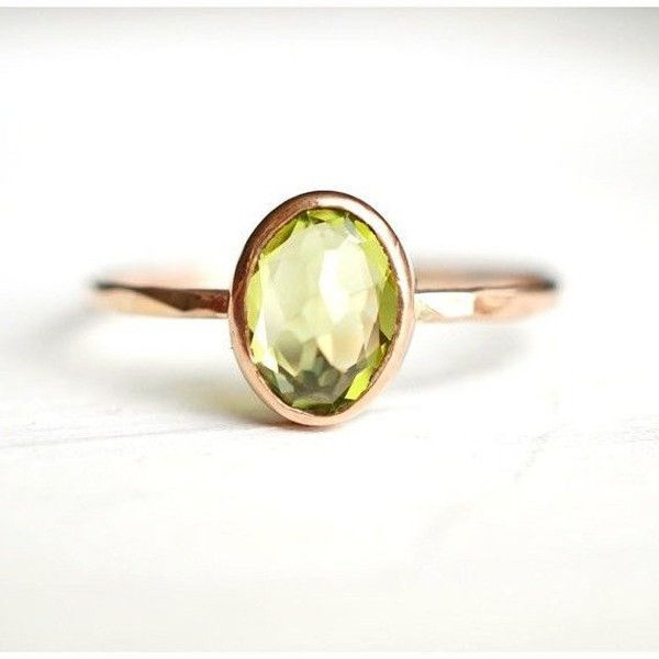 Rose Cut Peridot Ring in 14k Gold http://www.luxuring.ca #handmade #rings #engagementring #rosegold #luxuring