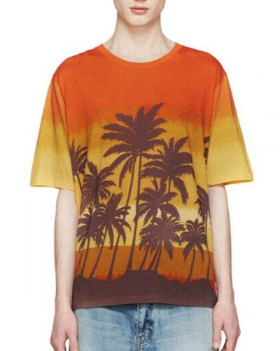 Men T-shirt 3D Digital Pinted empty shore island sky Crewneck casual Tee shirt Tops LeYxr