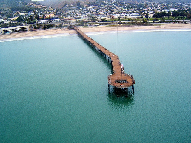 Really nice view of Ventura and the Pacific Ocean with pier.  The photographer says:  East winds today, expecting stormy weather. It never came. Light rain falling, camera hung from kite string, Ventura California.  by flyingcamera
