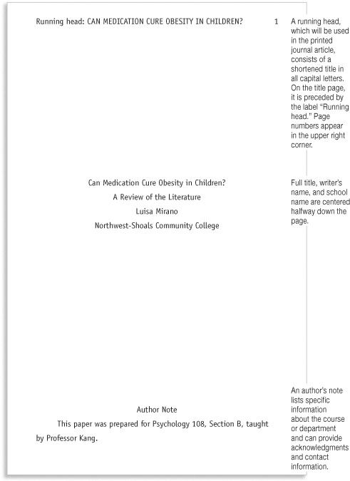 apa format sample cover page