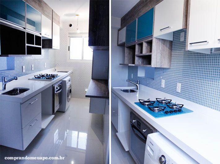 Cozinha azul turquesa