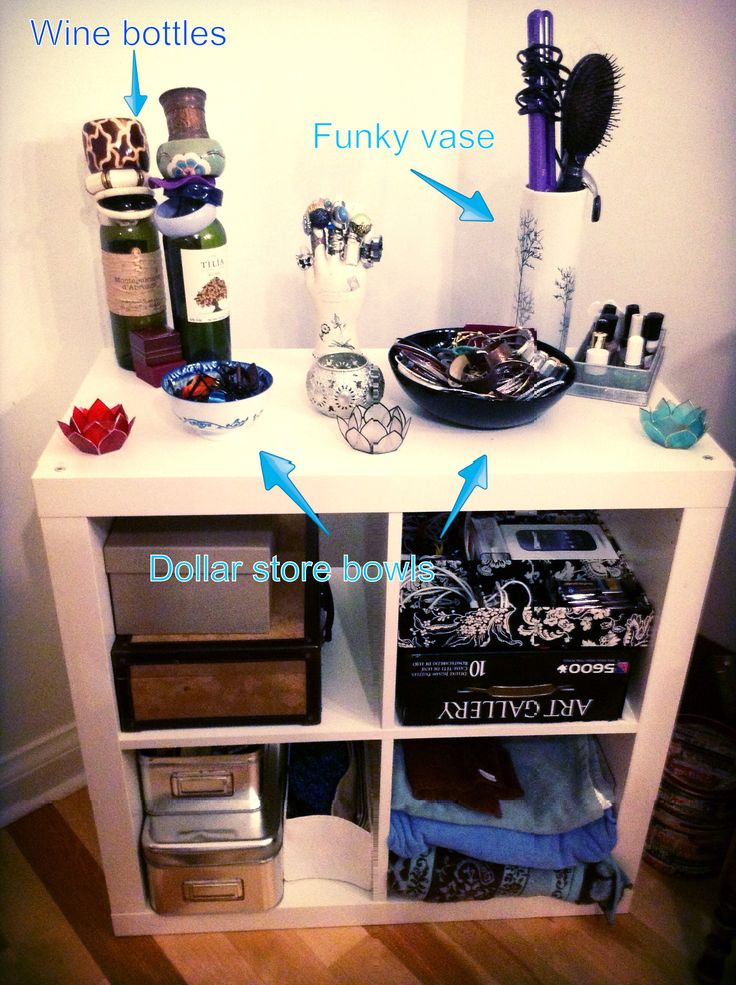 Bedroom DIY organization with recycled and dollar store