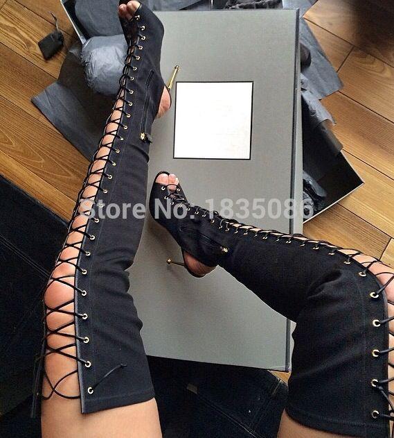 112.64$  Watch now - http://alii0o.worldwells.pw/go.php?t=32477689493 - spring sexy stivali alti merlettano in su Gladiatore sandalo stivali donna sopra il ginocchio stivali tacco alto beige nero Rosa 112.64$