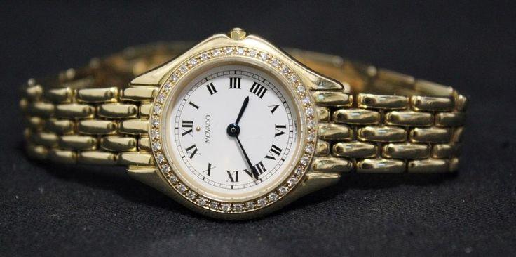 Movado Ladies Diamond 14k Gold Watch Wristwatch Jewelry Ref 75459832 Womans #Movado #DressFormal