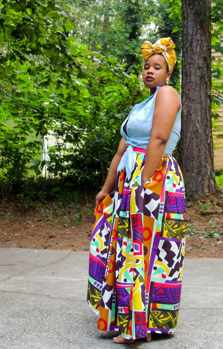 Thank goodness for a maxi skirt on a summer day!!  Not sure what size you are? That's cool. Size charts are listed below every item so there's no guess work. Just headache free ordering. Because again, we're cool like that. Sizes XS-3XL available.  #africanprintskirts #africanskirts #afrocentric #colorfulskirt #ankarafabric #ankarafashion #blackandproud #problack #plussize #curvyfashion #curvywomen #realwomenhavecurves #blackwomen #africanwomen #africanamericanwomen