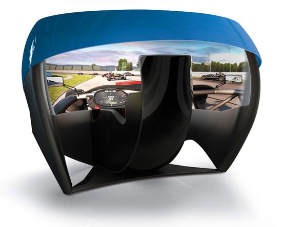 First 180 degree spherical projector screen for new racing simulator.
