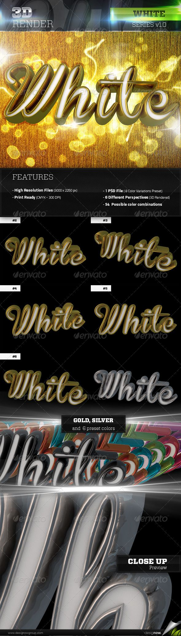 3D White Text  #GraphicRiver            3D Rendered White text with glossy textures. Great for party, festivals, concerts posters, flyers, invitations and other related events. It comes with a PSD file that includes 6 different perspectives, gold and silver texture; a preset of 6 color variations, with alpha channel ready to print or publish.      Easy to edit with highly organized layers.    Size 3000×2250 px;  DPI 300;  Color Profile CMYK;  Color variations gold, silver, black, orange…