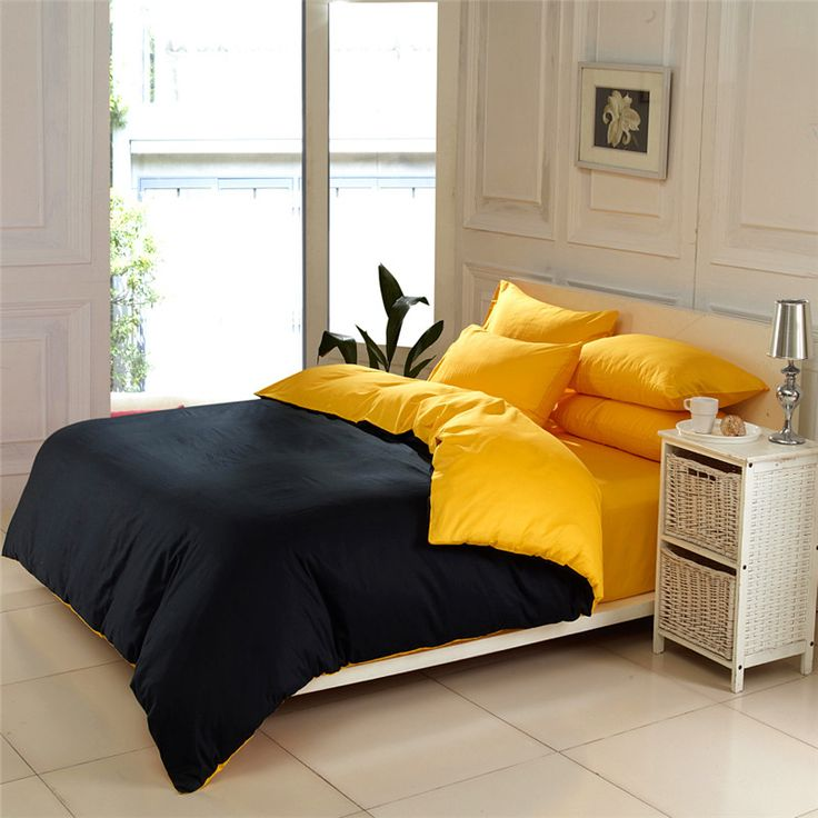 CONTRAST COLOR Solid Color Bedding Sets Queen King Size Duvet Cover Bed  Sheets Modern Minimalist Design