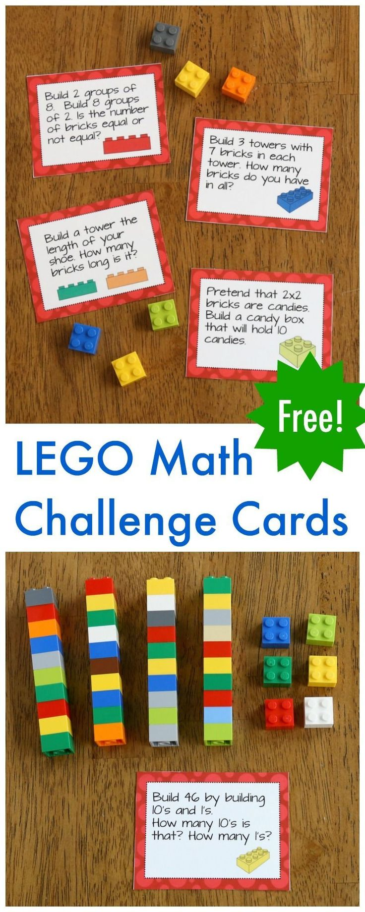 Free LEGO Math Printable Challenge Cards! Fun way to work on math facts in first or second grade. This would be a fun STEM center too! #lego #math #firstgrade #secondgrade #learnmathfacts #mathteacher