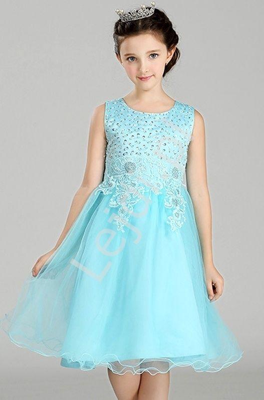 ad2853a194 Turkusowa tiulowa sukienka z bogato zdobioną górą