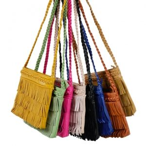 Women Synthetic Leather Braided Strap Tassels Cross-body Bag