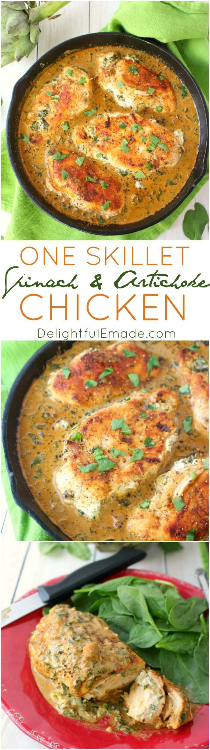 Let me introduce you to your new favorite chicken recipe!  This easy one skillet meal has all the flavors of Spinach and Artichoke Dip simmered together and stuffed into simple chicken breasts.  Incredibly flavorful, this delicious entree is the perfect d