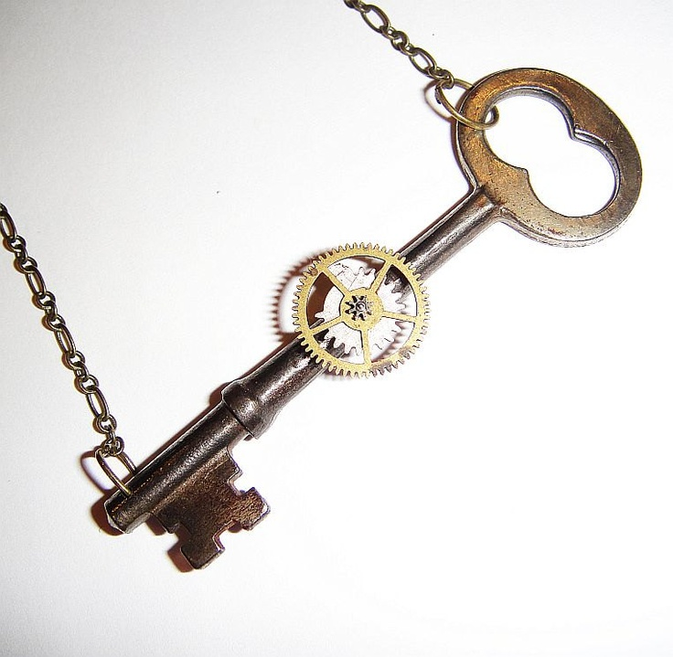 Micro-Mechanical Time Machine Key Necklace - silver & gold steampunk antique skeleton key, via Etsy.