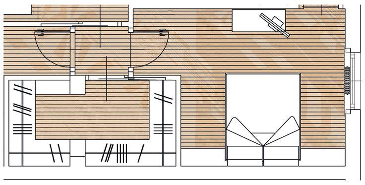 Nella zona notte il preesistente ripostiglio è stato ingrandito e trasformato in un'ampia cabina armadio con superficie di circa 7 mq. Il vano di forma rettangolare, accessibile dal disimpegno attraverso una porta scorrevole interno muro, è stato ricavato inglobando parte dello studio e della camera da letto.